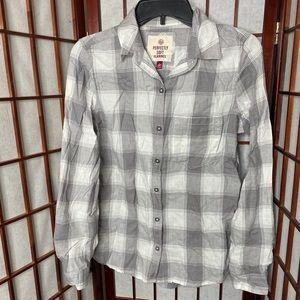 Gray white plaid flannel button down shirt